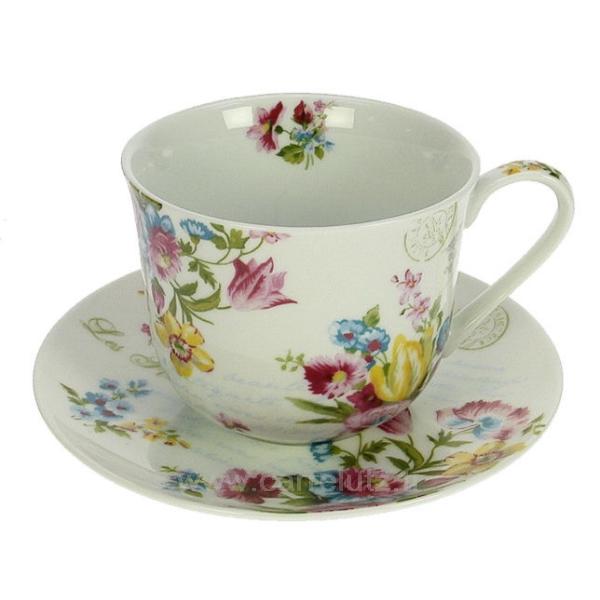 coffret 4 tasses d jeuner jardin secret arts de la table porcelaine gres faience ardoise. Black Bedroom Furniture Sets. Home Design Ideas
