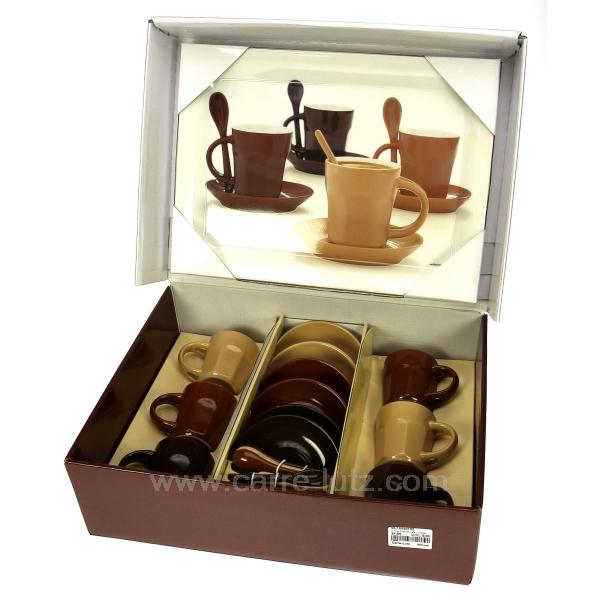 coffret 6 tasses caf plateau arts de la table porcelaine gres faience ardoise tasse. Black Bedroom Furniture Sets. Home Design Ideas