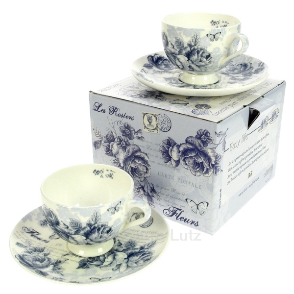 coffret 2 tasses caf roses bleues arts de la table porcelaine gres faience ardoise. Black Bedroom Furniture Sets. Home Design Ideas