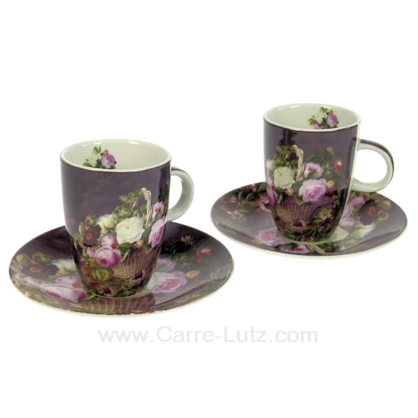 coffret 2 tasses caf panier fleuri arts de la table porcelaine gres faience ardoise. Black Bedroom Furniture Sets. Home Design Ideas