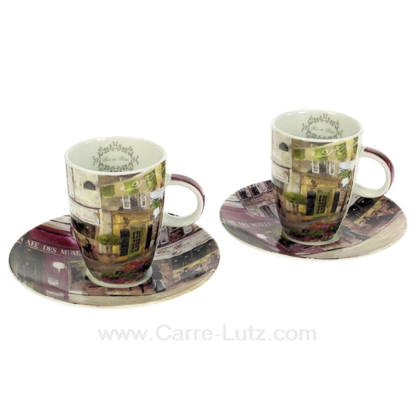coffret 2 tasses caf rues de paris arts de la table porcelaine gres faience ardoise. Black Bedroom Furniture Sets. Home Design Ideas