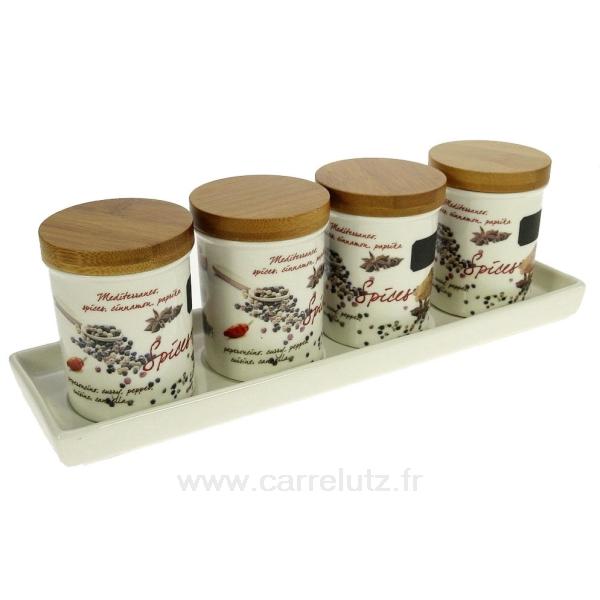 set de 4 bocaux porcelaine pices la cuisine porte epices pot epices cl29000071. Black Bedroom Furniture Sets. Home Design Ideas