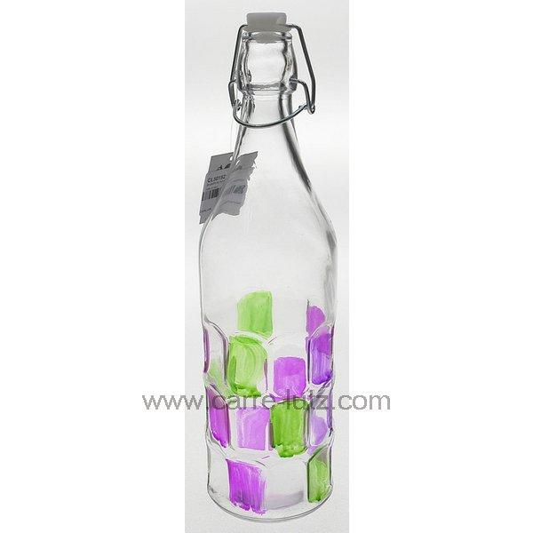bouteille en verre 1 litre rectangle rose et vert arts de la table pichet cl50152127. Black Bedroom Furniture Sets. Home Design Ideas