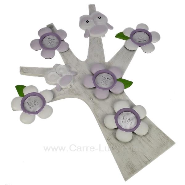arbre porte photos fleurs et hibou lilas cadeaux d coration cadre et porte photo cl84000200. Black Bedroom Furniture Sets. Home Design Ideas